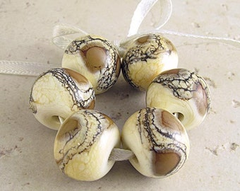 Handmade Lampwork Glass Beads Set of 6 Organic Webbed Silvered Ivory 14x11mm Coffee and Cream