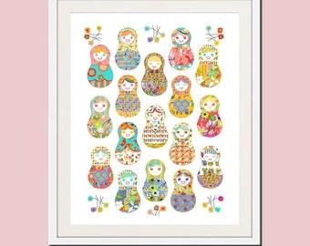 baby girl nursery art girl nursery decor, childrens art babushka art, pretty nursery art, nursery wall art, kids wall art modern nursery art