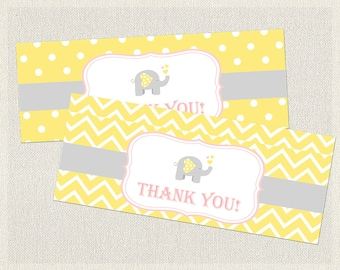 Yellow Goodie Treat Bag Toppers Birthday Elephant Chevron Gray Pink 1st 2nd 3rd Printable Girls IV-4