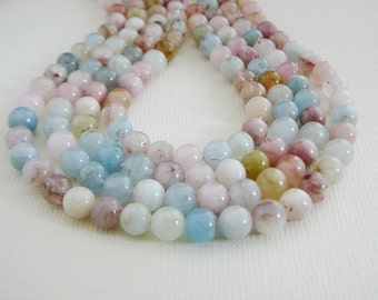Bead, Beryl Gemstone, 6mm Round Pale Aqua Blue, Pink, Seafoam, Multi color 8 inch strand