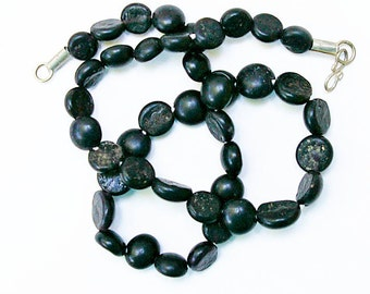 Antique Glass Beads:  Sandcast Black from Ghazni, Afghanistan- Item 4