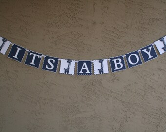"Giraffe Baby Shower Banner , It""s A Boy,  Navy Blue, White and Grey, New Baby, Party Banner, New Baby Celebration"