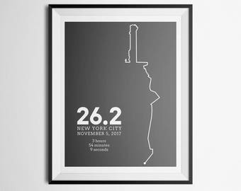 2017 UPDATED New York City NY NYC Marathon Route Abstract Map Print Gift