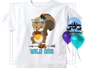 Woodland Squirrel Wild One Birthday Shirt, 1st Birthday Personalized Shirt  (mc565)