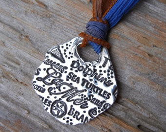 Nautical Jewelry, Nautical Silver and Silk Ribbon Necklace, Nautical Slide Pendant Necklace, Sand Dollar and Sea Inspired Nautical Terms