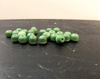 Green Optic Glass Bead 8mm Green Bead 35 Beads Necklace Bracelet Ring Jewelry Supply #141