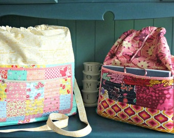 The Doris project bag pattern - PDF sewing pattern for this versatile bag; yarn project bag, baby changing bag, everyday bag