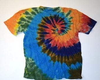 Big Kahuna Spiral Tie Dye T-Shirt  (ONNO 55/45 Hemp/Organic Cotton Size L) (One of a Kind)