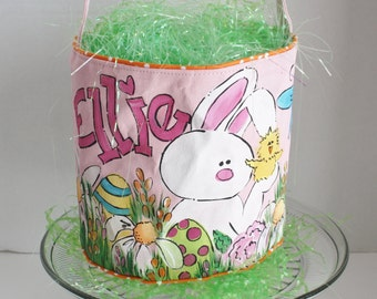 Easter Basket, Personalized, hand painted, pink, bunny and chick in the garden