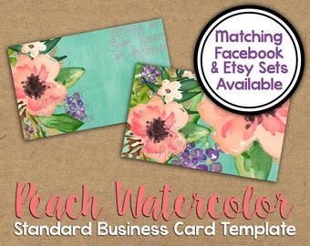 Peach Watercolor Business Card Template - Digital Watercolor Business Card - DIY Standard Business Card - Floral Watercolor Business Card