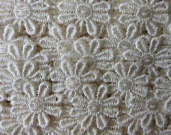 2 Yard Venise Lace Ivory Daisy Flower Ribbon Trim 1 Inch Wide Daisies V-12