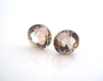 Swarovski Crystal Stud Earrings, Crystal Earrings, Pink Earrings, Pink Studs, Antique Pink, Bridesmaid Gifts, Bridesmaid Earrings