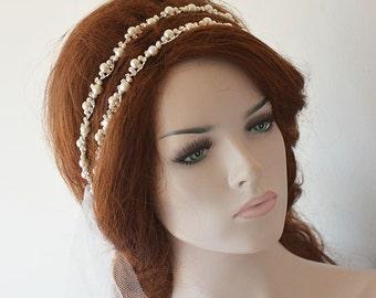 Pearl Bridal Headpiece, Pearl Double Wedding Headband, Wedding Hair Accessories, Wedding Headband, Bridal Hair Accessories