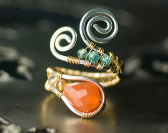 Red Agate Ring, Silver, Gold, Gemstone, Argentium Silver, Copper Ring - Red Agate, Blue Apatite, Tangerine, Orange, Moss & Mist Jewelry