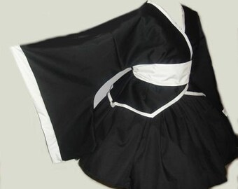 Kimono Jacket Skirt & Bow Gothic Lolita Cosplay Goth Loli Black White Obi Sash with Bow Dress  Custom Size including Plus Size