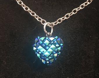 Blue Green Acrylic Heart Necklace