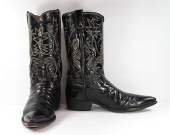 justin cowboy boots men's 10 D black leather western made in usa vintage cloth label point toe