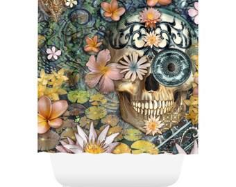 Floral Sugar Skull Shower Curtain - Floral Skull Bath Curtain - Dia De Los Muertos Bathroom Decor - Bali Botaniskull
