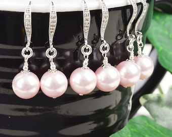 Pink Pearl Bridesmaid Earrings SET OF 8 - 15% OFF Pearl Drop Earrings - Swarovski Pearl Earrings - Wedding Jewelry Set - Bridesmaid Jewelry