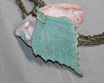 Turquoise Pendant Necklace Boho pendant Necklace Boho Necklace Bohemian Necklace Pendant Boho jewelry Bohemian Jewelry Large Leaf Necklace