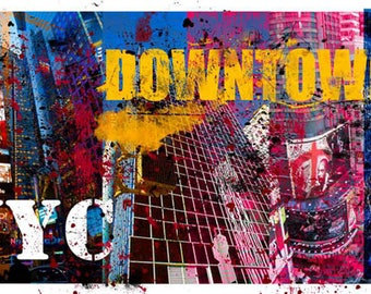 Colorful Wall Art, Digital Art, Printable Poster, Digital Download, Printable Photography, Printable Art,  Photographic Collage, New York