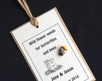 Wild flower seed Wedding/Party Favours for Butterflies & Bees decorated with hand painted wooden bee.