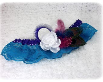 Turquoise feathers lace bridal garter with Peacock