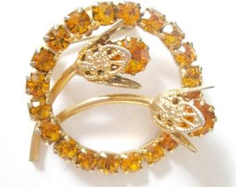 1940s Topaz Rhinestone Round Brooch Gold Filigree Flower Pin