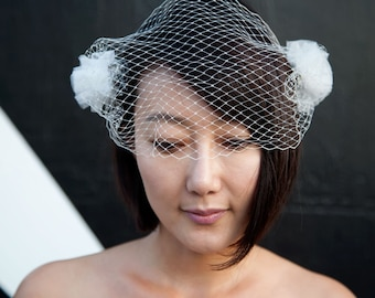 Cream Birdcage Veil Barrettes With Gothic French Veil