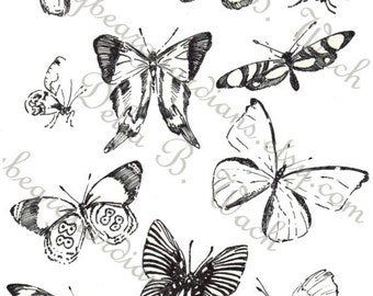 Black and White Butterflies - Collage Sheet - Perfect for Crafts - Printable PDF