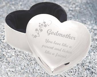 Godmother Personalised Engraved Heart Trinket Jewellery Box.