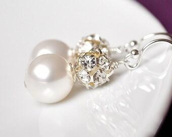 Rhinestone Bridal Earrings, Pearl Bridal Earrings, Art Deco Bridal Earrings, Bridal Jewelry