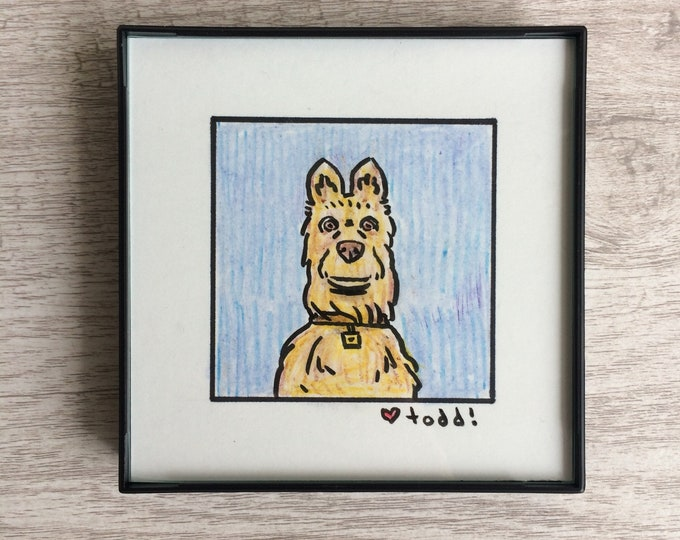 "Isle of Dogs - Rex, Original Drawing, 4"" x 4"", TV, Wes Anderson, Movies, Pop Culture, ink and crayon"