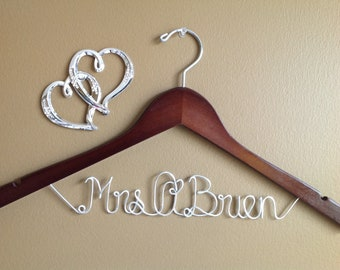 Bridal Hanger one Line, Wedding Personalized  Bridal Hanger, Brides Hanger,Bride, Name Hanger,Wedding Hanger, Personalized Bridal Gift