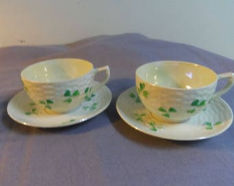 Teacup and Saucers, Shamrock Basketweave Luster Ware, Unmarked Eggshell Porcelain
