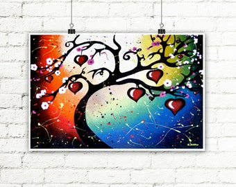 Tree of Life Wall Art Print, Cherry Blossom Whimsical Decor Rainbow Red Heart Art