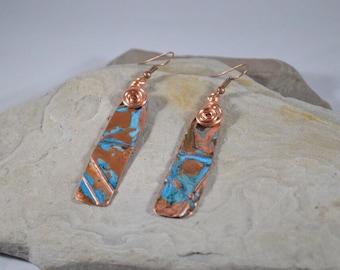 Long Copper Bar Earrings, Unusual Earrings, Rustic Copper Earrings, Organic Earrings, Hammered Copper, Fold formed Copper, Hypoallergenic