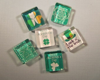 St. Patrick's Day Refrigerator Magnets, Set of 6 Glass Tile Fridge Magnets with Storage Tin