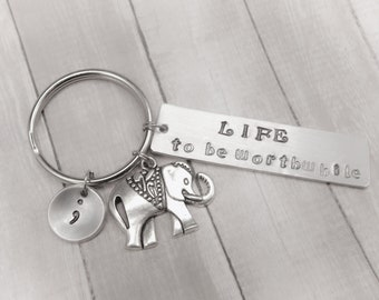 Semicolon Inspirational Quote Keychain - LIFE to be worthwhile - Raise hope like the powerful strength of an elephant - Gift
