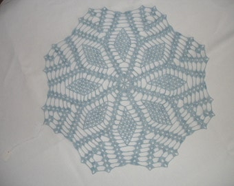 New Handmade Crocheted Diamond Doily in Blue 16 inches