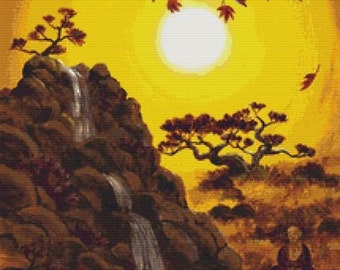 Meditating by a Golden Waterfall Counted Cross Stitch KIT, Cross Stitch, Laura Iverson Art, Modern Cross Stitch, Cross Stitching Set