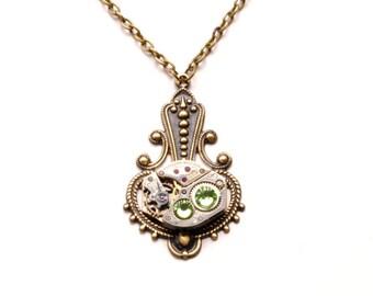 Steampunk Necklace AUGUST PERIDOT Steampunk Watch Necklace Light Green Antique Brass Victorian Steampunk Jewelry by Victorian Curiosities