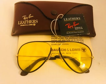 Vintage New Aviator leather Bausch & Lomb Ray Ban Sunglasses Yellow Kalichrome  58mm  BL  W/ Case  NOS