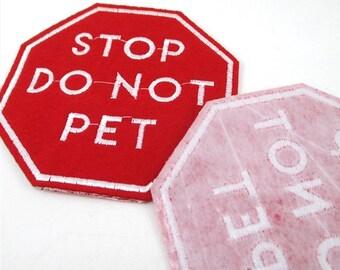 Stoppen Sie tun nicht Pet stickte Eisen auf Patch Applikation SD041118