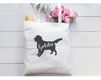 Personalized Golden Retriever Silhouette/Tote Bag/Golden Retriever/Personalized bag/Golden Owner/Golden Puppy/New Dog/Personalized Gift Bag
