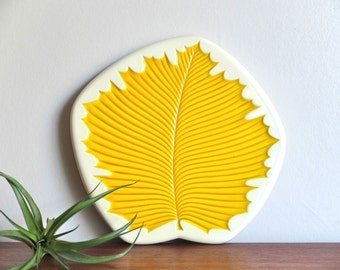 "French vintage Verceram ceramic cheese tray ""leaf"" 1950s / yellow, kitchen, autumn, country, folk, boho chic, plate tray display, france"
