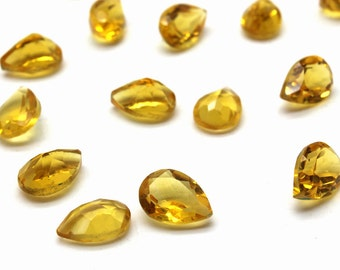 Pear citrine gemstone,faceted gemstone,faceted teardrop,Citrine gem,semiprecious stones,earth minded stones - AA Quality - 1 Pc