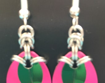 Pink and Green drop earrings