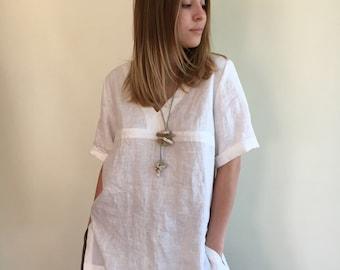Long Linen Shirt, Beach Shirt, Loose Linen Shirt, White Linen Tunic, Plus Size Top, Tunic Top, Linen Shirt, Plus size top, Plus size Tunic