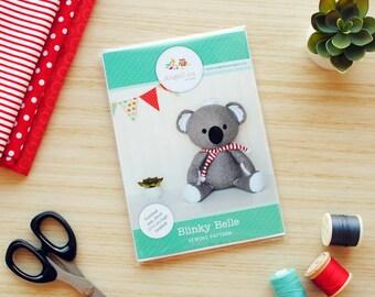 Koala Sewing Pattern HARD COPY Paper Koala Softie Sewing Pattern Stuffed Animal Pattern